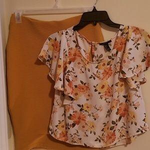 Gold pencil Skirt floral top combo
